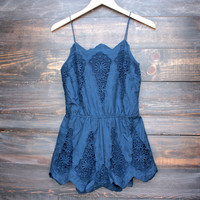 crochet and embroidered romper - navy