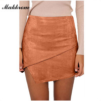Autumn and Winter Lace-up Leather Suede Pencil Skirt Winter High Waist Mini Skirt Fashion Solid Pencil Empire Women's Skirts