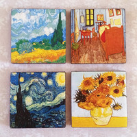 Vincent van Gogh Art Ceramic Tile Magnets 2x2 Inches Set of Four for Refrigerator, Fridge, Cubicle Decor, Dorm Decor, Magnet Board