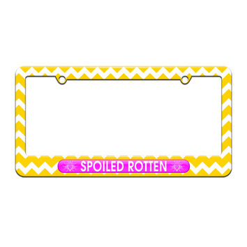 Spoiled Rotten - Diamonds Princess - License Plate Tag Frame - Yellow Chevrons Design