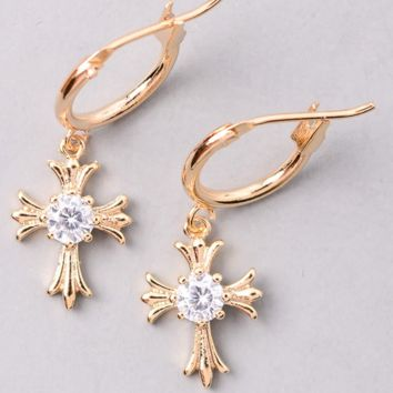 Tiny Cross Earrings - Gold
