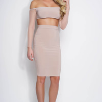 Audrey Mesh Choker Dress - Tan