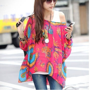 Women's Loose Bat Sleeve Bohemian Style Chiffon Casual T-Shirt Tops Blouse = 1928712964