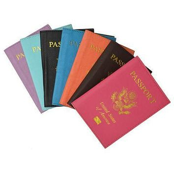 New PU leather gold USA Logo Passport Cover/Holder travel organizer