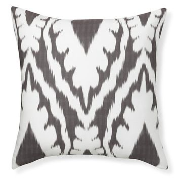 Outdoor Printed Saint-Tropez Ikat Pillow, Gray
