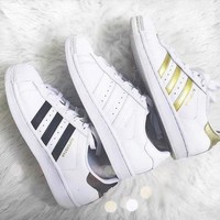 """""""Adidas"""" Three Line Suprstar Flats Shoes Shell-toe Wome Men Sport Shoes"""