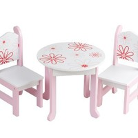 "18 Inch Doll Furniture Fits 18"" American Girl Dolls - Floral Table and Chairs"