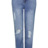 MOTO Ripped Mom Jeans - Mid Stone