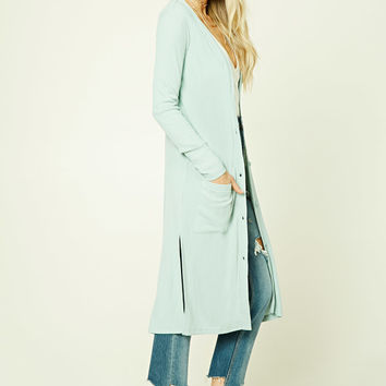 Button-Front Longline Cardigan