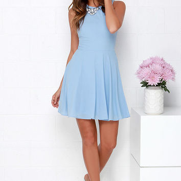 Dee Elle At Ease Light Blue Skater Dress