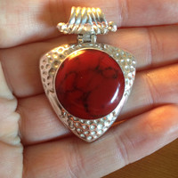 Gorgeous Solid Hammered 925 Sterling Silver and Red Deep Coral Protection Shield Pendant