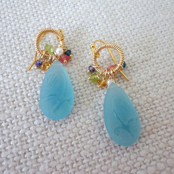 vermeil jewelry, gold earrings dangle Carved Flower Tulip.  Aquamarine Blue Quartz Cameo Briolette Matched Pair gold Bead earrings,