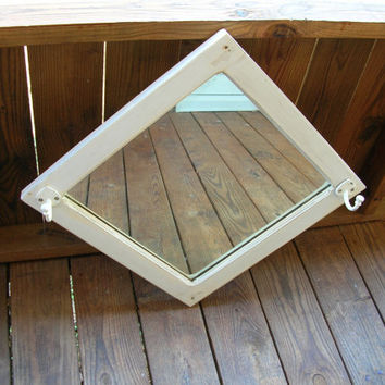 Vintage Shabby Chic Mirror and Hat Rack, White, Recycled, Upcycled