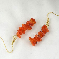 Carnelian Chip Stone Dangle Earrings by theotherstacey on Etsy