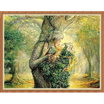 Tree Lovers Kiss Needlework,People Bricolage Woods DMC Cross stitch,Embroidery kits 14CT Canvas Patterns,DIY Handmade Decor