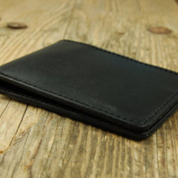 Men's thin Leather Black wallet Minimal leather wallets Slim Thin Minimalistic Leather Wallet four card holder