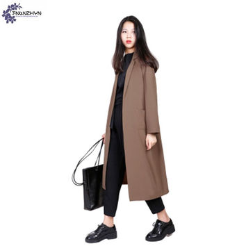 TNLNZHYN Chiffon Trench coat 2017 spring new fashion loose lapel long sleeves long section of women Windbreaker Outerwear TT213