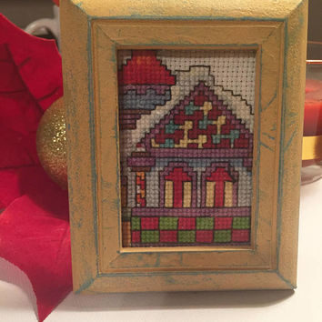 Christmas sampler, completed cross stitch, framed Winter Cottage, Mini art, Framed artwork, Christmas gift, hand stitched Holiday sampler
