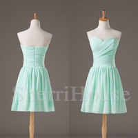 Sweetheart Strapless Empired Short Bridesmaid Celebrity dress ,Simple Chiffon Evening Party Prom Dress Homecoming Dress