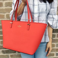 NWT Kate Spade Small Harmony Cedar Street Leather Tote Bag Applejelly Orange Red