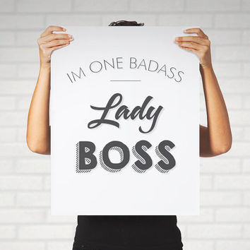Large Print Poster Badass Lady Boss Inspirational Black and White Minimalism Feminist