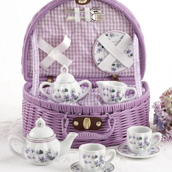 Childrens Porcelain Tea Set in Rounded Wicker Style Basket - Violets
