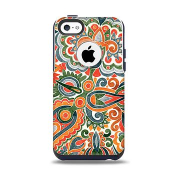 The Vintage Hand-Painted Coral Abstract Pattern Apple iPhone 5c Otterbox Commuter Case Skin Set