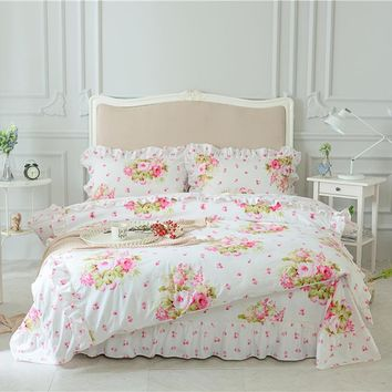 Pink Green Purple 100%Cotton Girls Queen King size Bedding Set Korean Princess Floral Print Bed Sheet set Duvet Cover Pillowcase