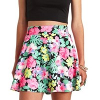 Hawaiian Print High-Waisted Skater Skirt - Black Combo