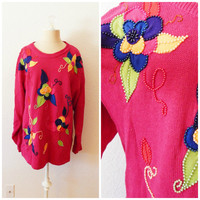 Vintage 90s Womens Pink Beaded Knit Floral Knit Sweater Top Large