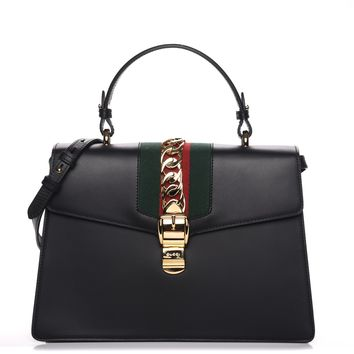 GUCCI Calfskin Medium Sylvie Top Handle Bag Black