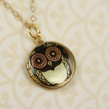 Small Green Whimsical Owl Locket Necklace, Miniature Pendant, 14kt Gold Filled Chain, Girl's Bird Jewelry, Round Photo Jewellery, Fashion