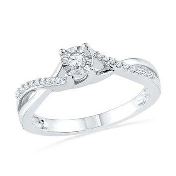 1/6 CT. T.W. Diamond Twist Shank Promise Ring in 10K White Gold - Save on Select Styles - Zales