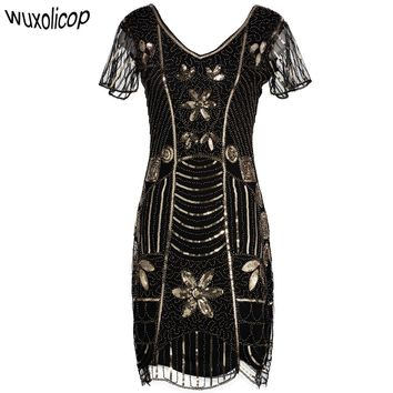 Vintage Art Beaded Sequin Embellished Flapper Dress Double V Neck Butterfly Sleeve Tunic Body con Gatsby Party Dress