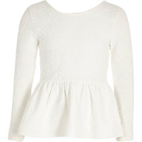 River Island Girls white peplum floral jacquard top
