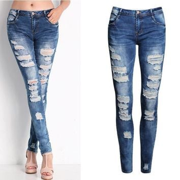 2017 Hot Fashion Ladies Cotton Denim Pants Stretch Womens Bleach Ripped Skinny Jeans Denim Jeans For Female