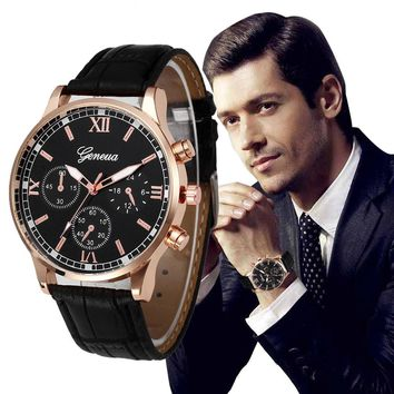 Men Retro Design Leather Band Alloy Quartz Wrist Watch