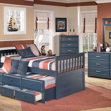 Bradley Blue Twin Combo Captain's Bed