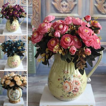 New Year Hot Vivid 6 Branches Autumn Artificial Fake Peony Flower Home Room Bridal Hydrangea Decor Real Touch