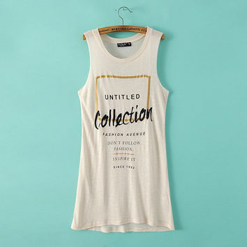 Women's Fashion Sleeveless Round-neck Tops T-shirts [6047745921]