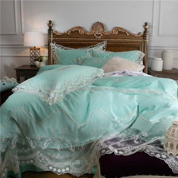 White green lace bedcover set satin egyptian cotton soft bedclothes luxury princess duvet cover bedding sets for double size bed