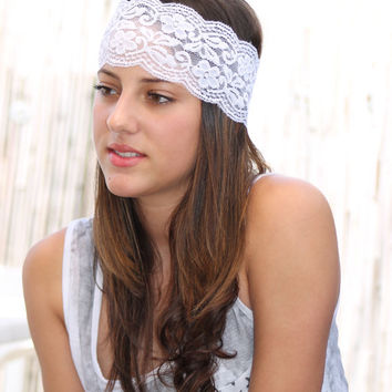White Lace Headband, Elastic Headband, Women Hair Accessories, Wedding Hair, Bridesmaids Headband,Turban Head Wrap, Head Covering, wide head