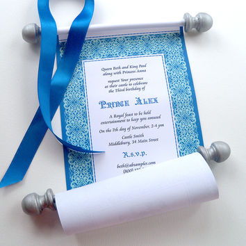 Medieval Prince Birthday Party Invitation Scroll in Royal Blue and Silver