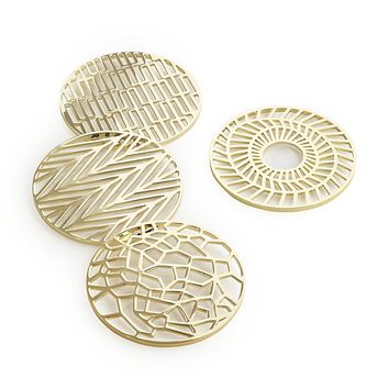 set of 4 etch gold coasters
