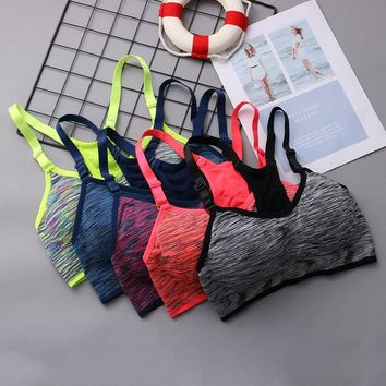 2018 Breathable Quick Dry  Cycling  Bra Women Push Up Seamless Tops Padded Wirefree Adjustable Shakeproof Fitness Underwear