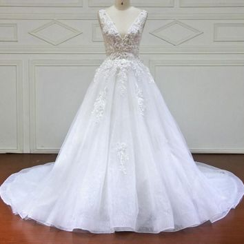 Wedding Dress With Lace Flower Crystal Vintage Wedding Dresses Bridal Gown