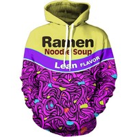 Onseme Mens Long Sleeve Crewneck Sweatshirts Pullovers Ramen Noodle 3D Prints Hoodies Male Hipster Hip Hop Pocket Hoodie
