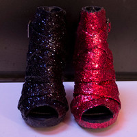 Harley Quinn Inspired Red and Black Glitter Peep Toe Booties US Size 6