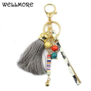 ESBONFI WELLMORE 2017 leather,long-tassel,colorful alloy Key Chain For Women Girl Bag Keychain