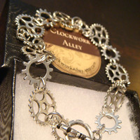 Antique Silver Gear and Cog Steampunk Bracelet (1538)